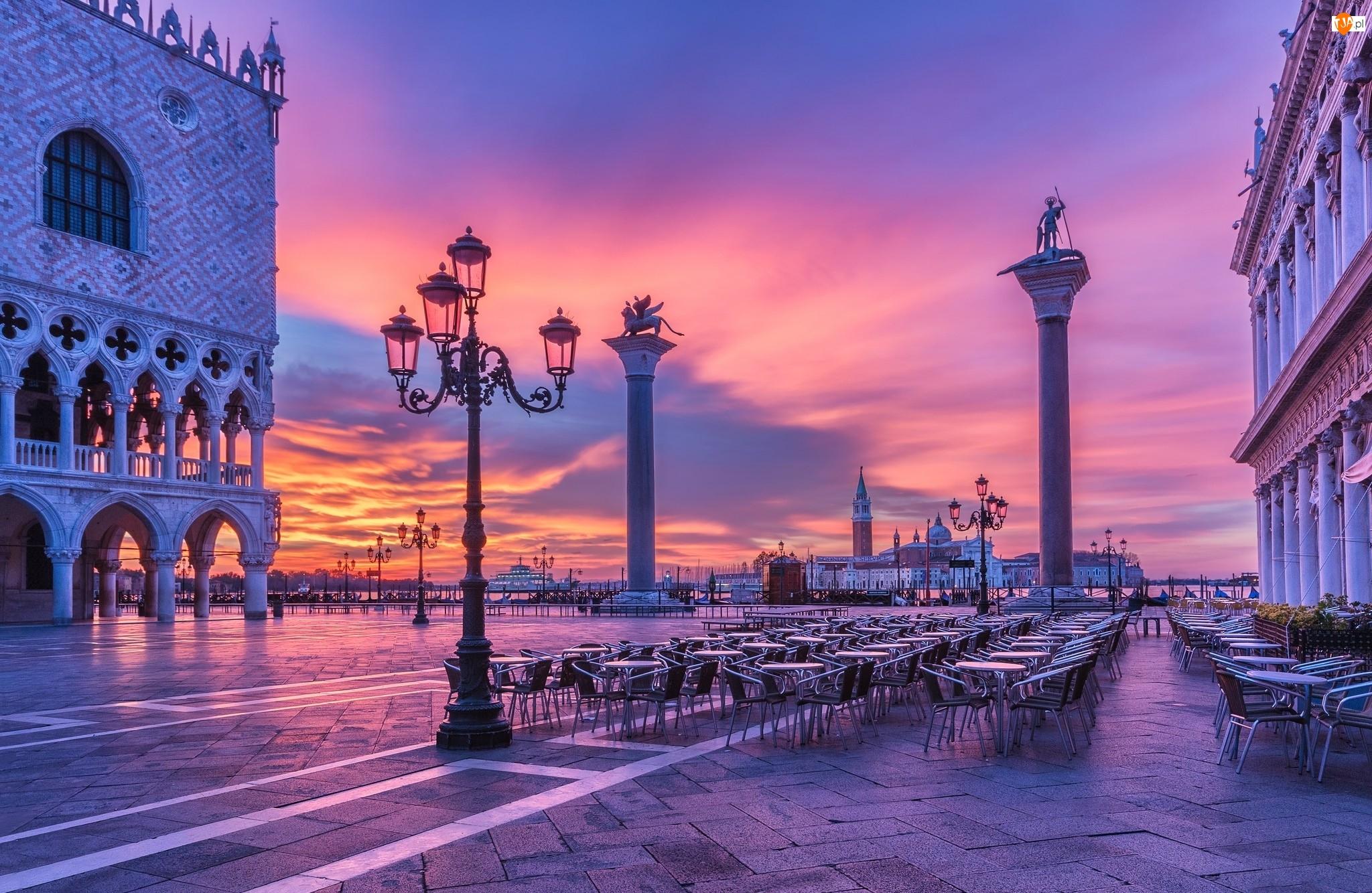 Plac św. Marka, Noc, Włochy, Wschód słońca, Wenecja, Latarnie