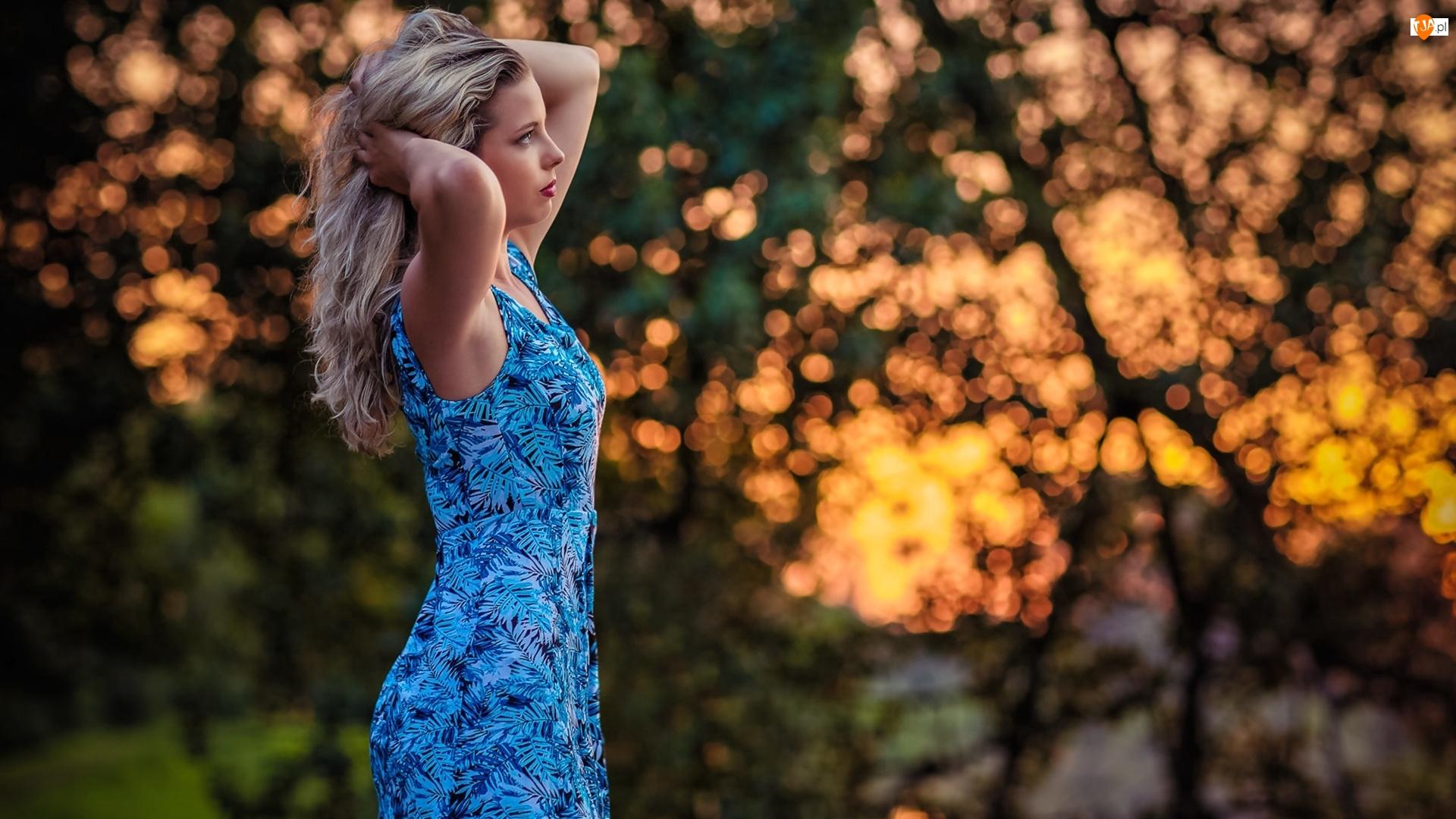 Sukienka, Długowłosa, Blondynka, Kobieta, Niebieska