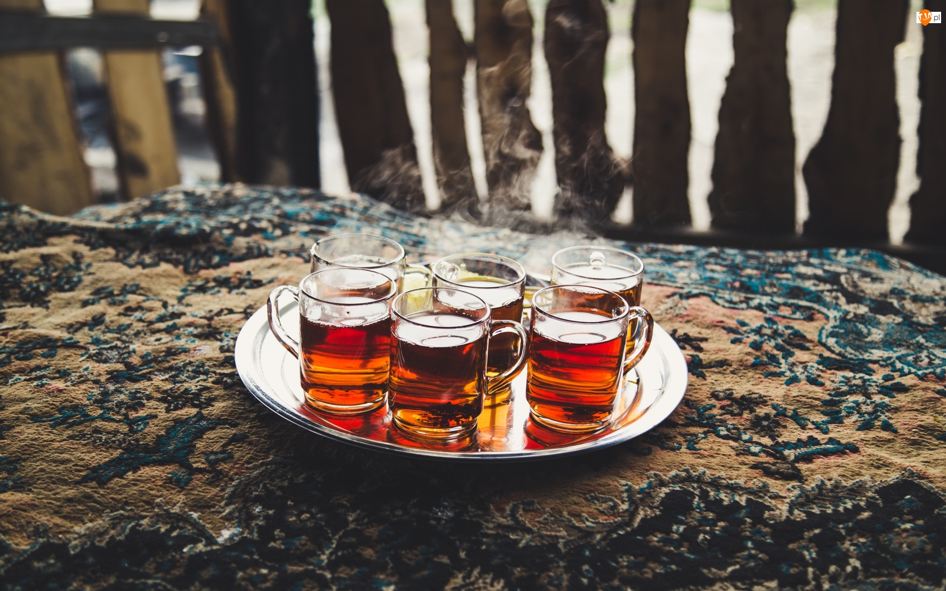 Szklanki, Taca, Herbata, Para