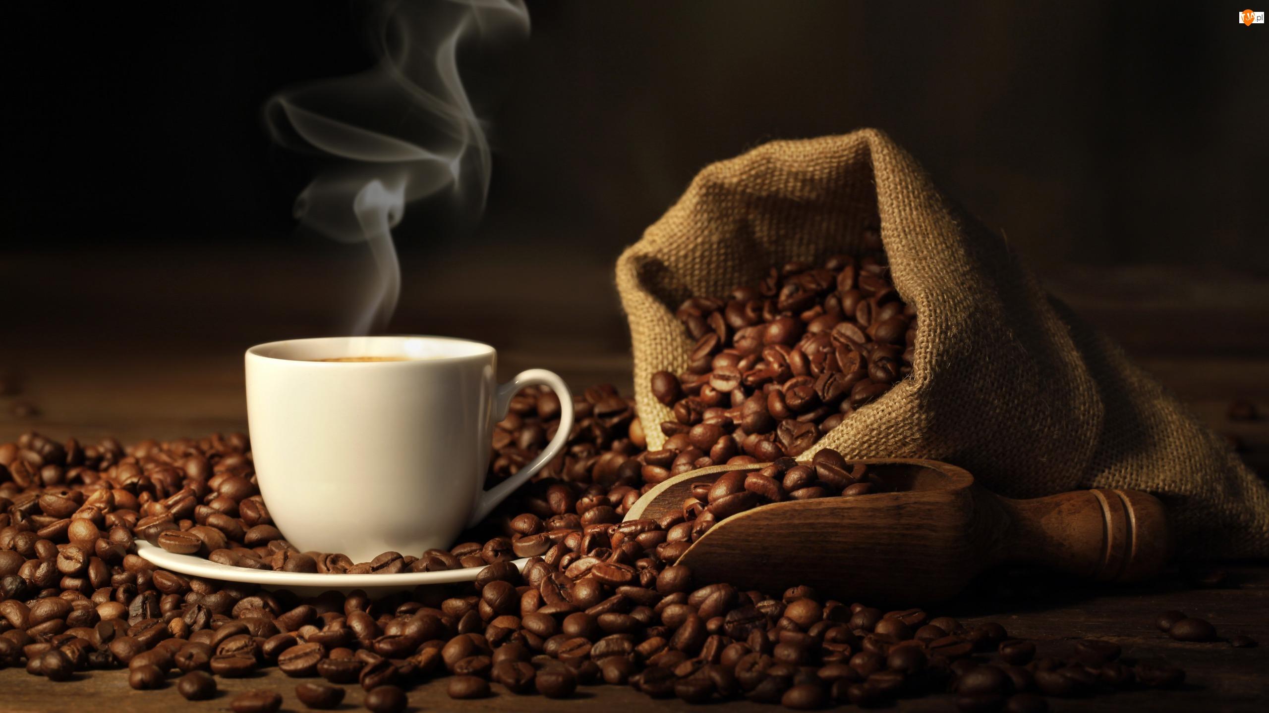 Kawa, Ziarna, Filiżanka, Worek