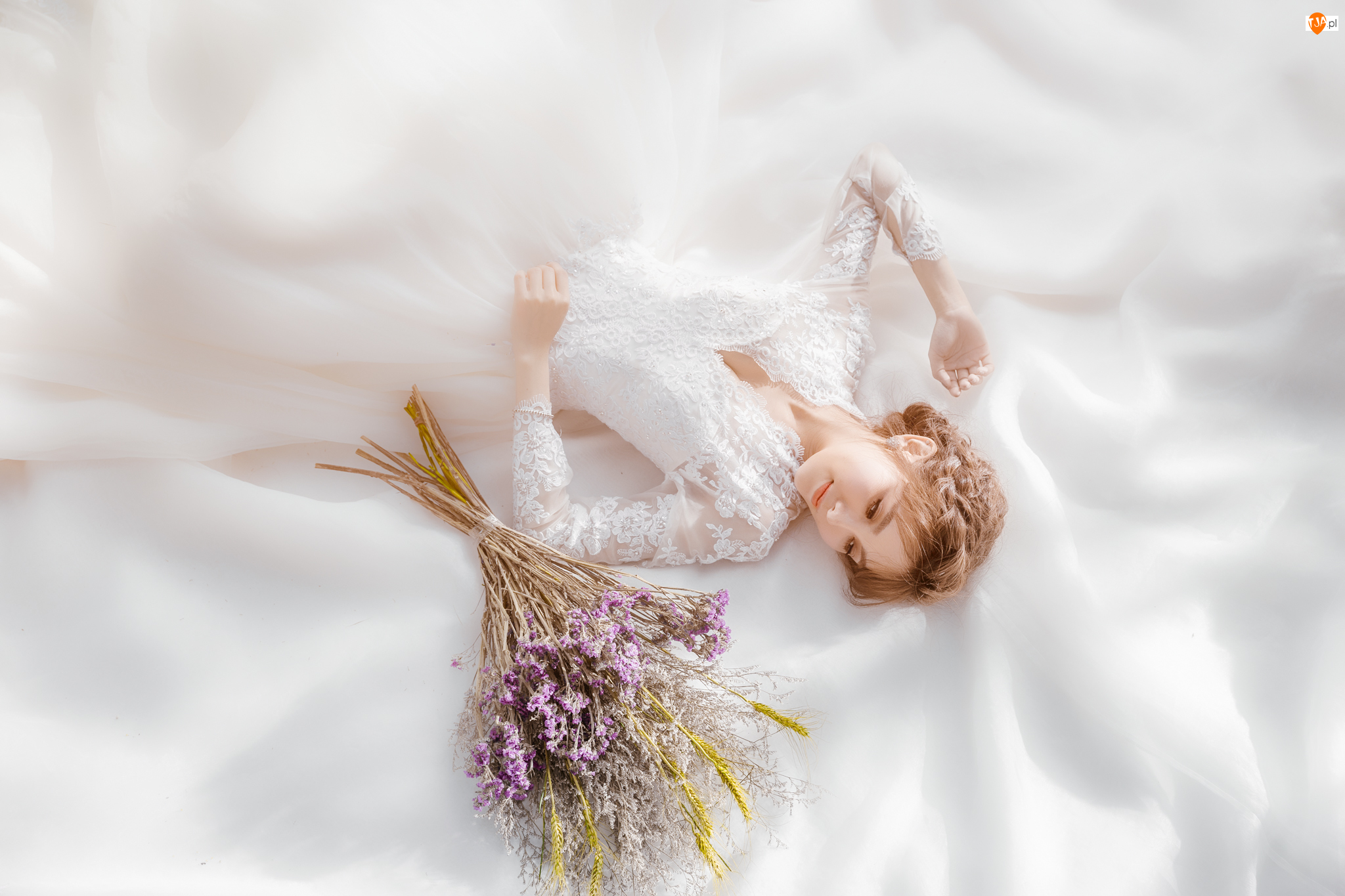 Sukienka, Kwiaty, Bukiet, Panna młoda