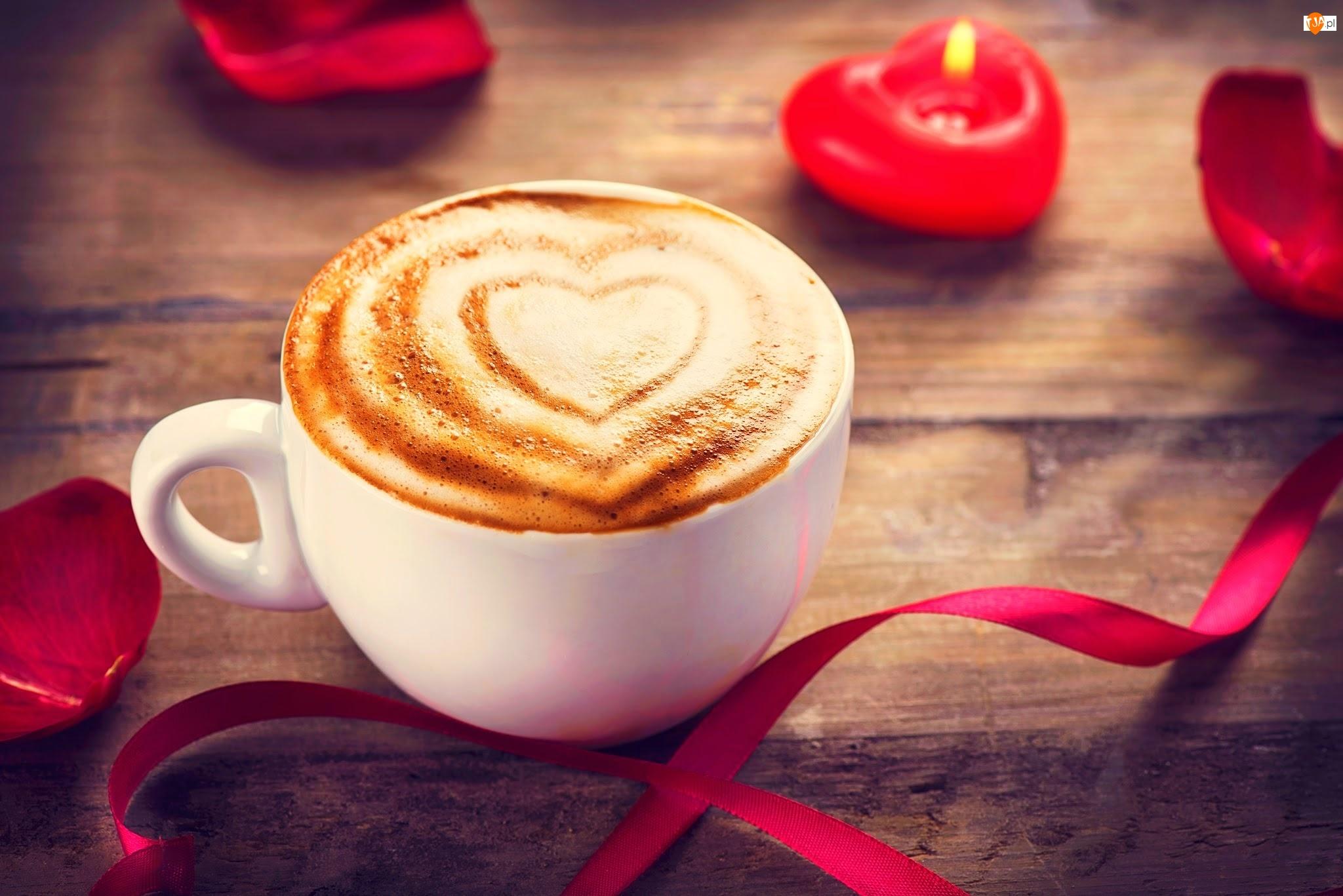 Kawa, Wstążka, Cappuccino, Świeczka