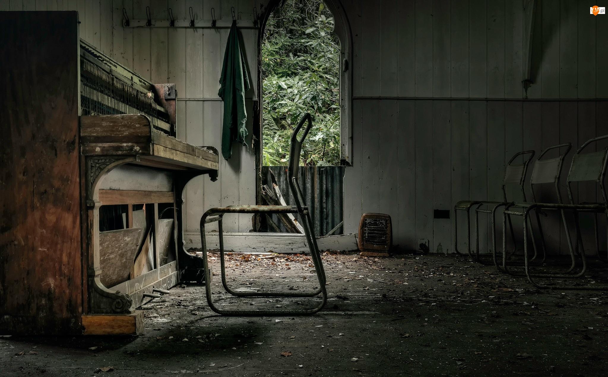 Pianino, Zaniedbane, Krzesła, Wnętrze, Stare