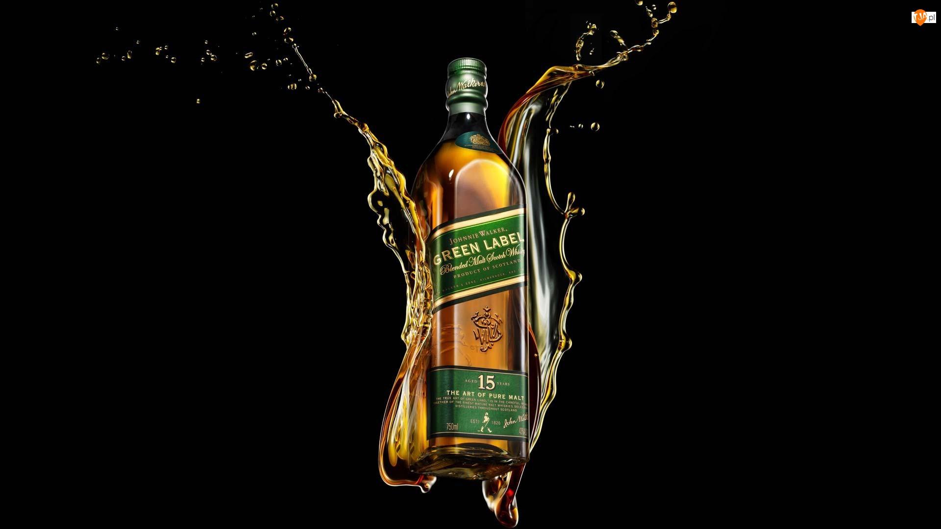 Whisky Johnnie Walker Green Label, Czarne tło