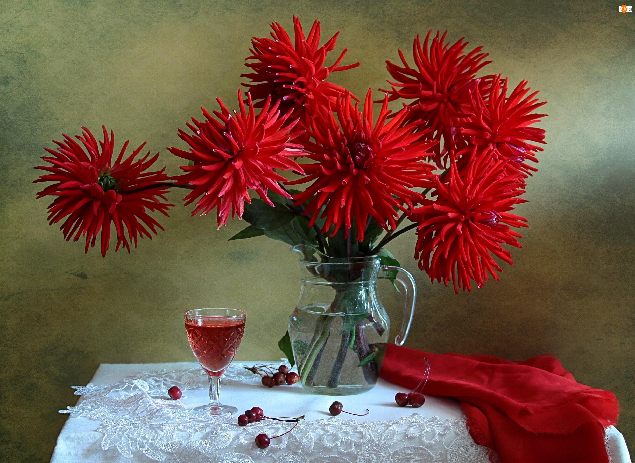 Czerwone, Bukiet Kwiatów, Dalie, Kieliszek