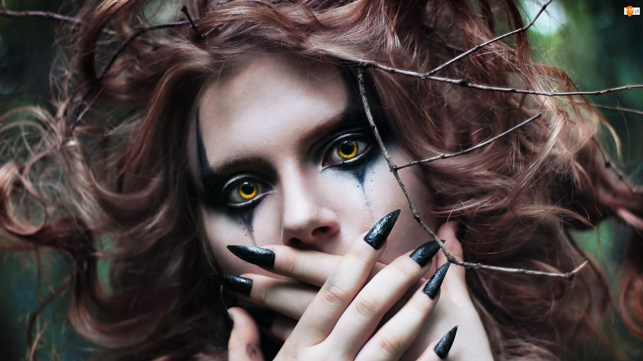 Kobieta, Makijaż, Ciemny, Upiorny