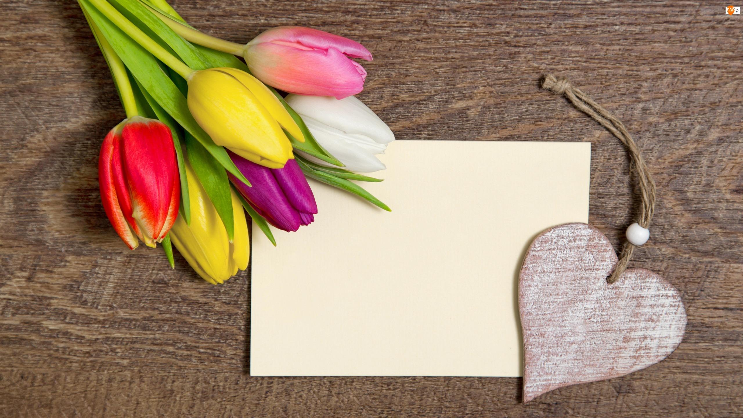 Drewniane, Kartka, Tulipany, Kolorowe, Serce, Bukiet, Zawieszka
