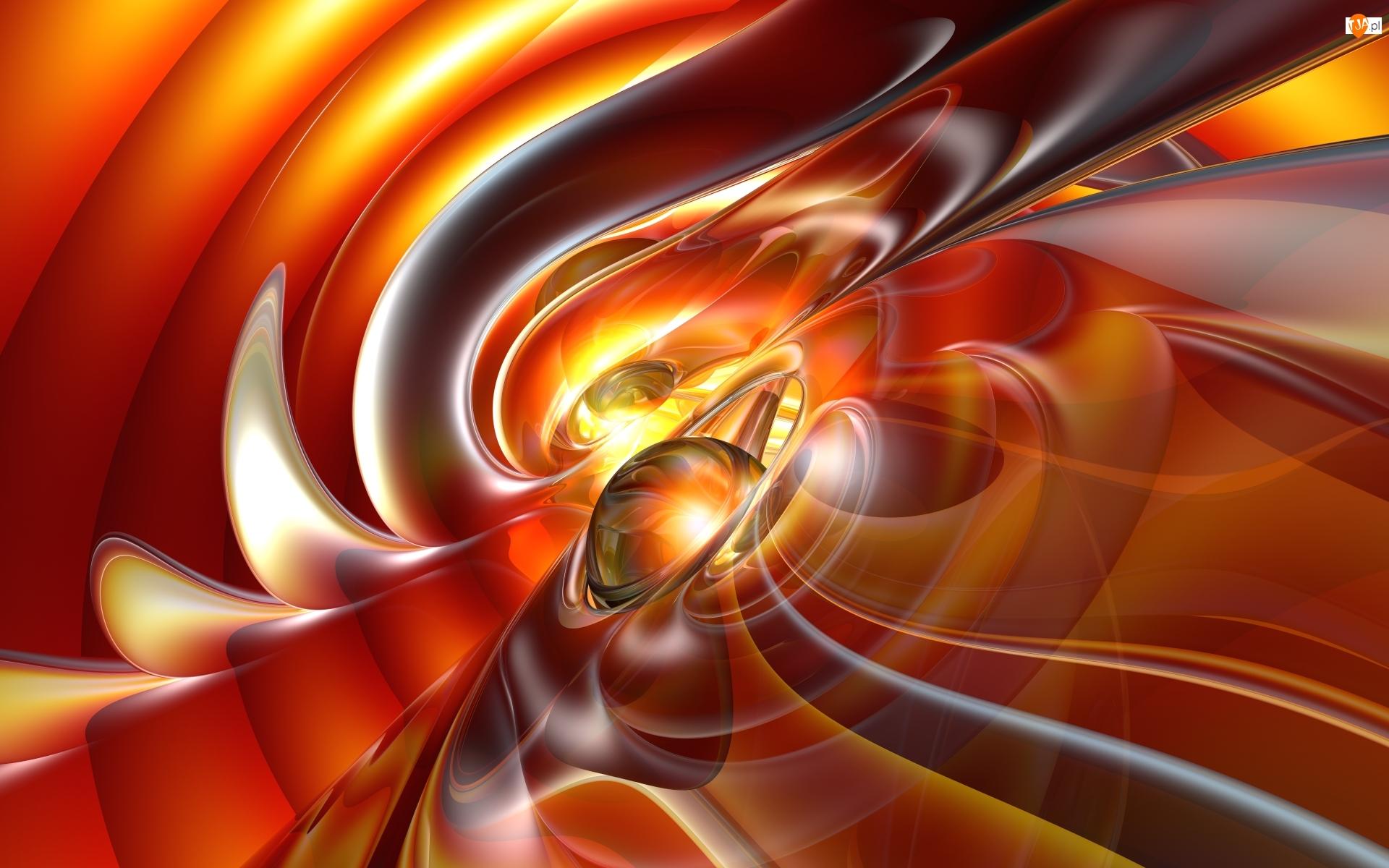Abstrakcja, Grafika 3D, Pomarańczowo-żółta