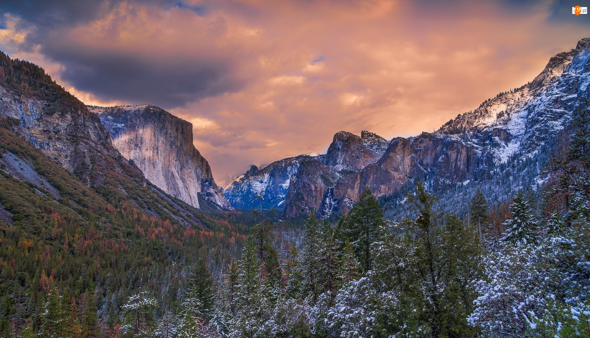 Dolina Yosemite Valley, Góry, Stan Kalifornia, Drzewa, Stany Zjednoczone, Śnieg, Park Narodowy Yosemite, El Capitan
