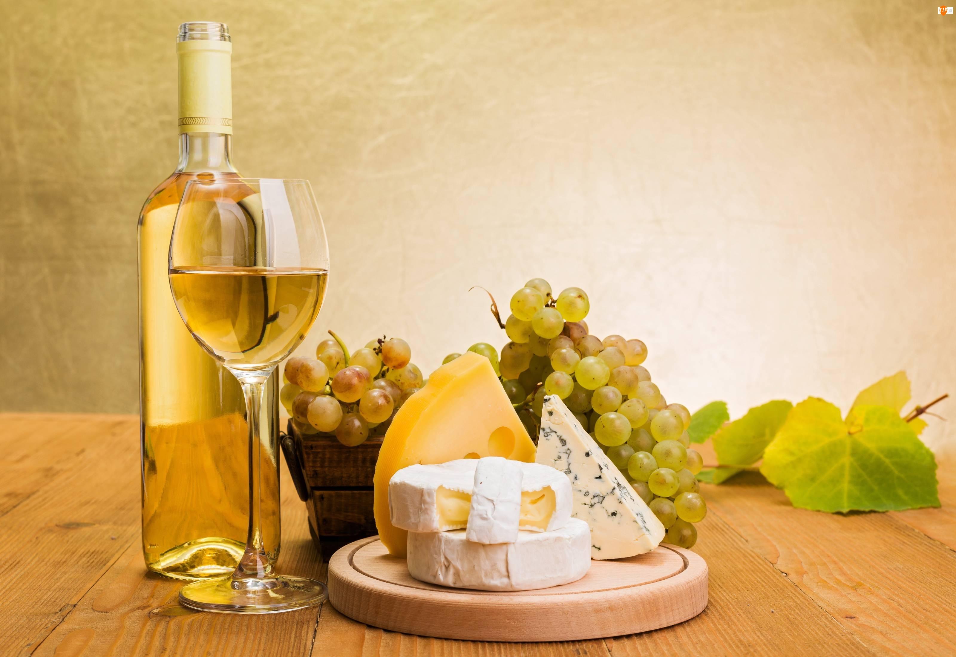 Kompozycja, Sery, Wino, Winogrono