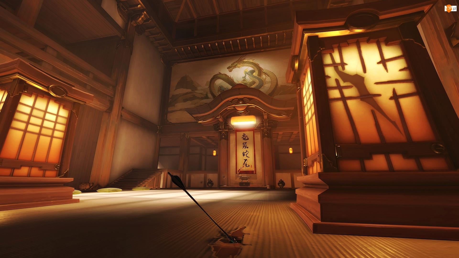 Hanamura Dojo, Gra, Wnętrze, Overwatch, Sala ćwiczeń