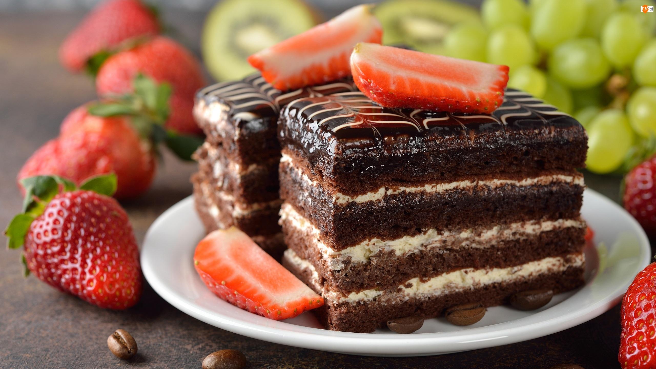 Owoce, Ciasto, Talerzyk, Kawałki, Truskawki