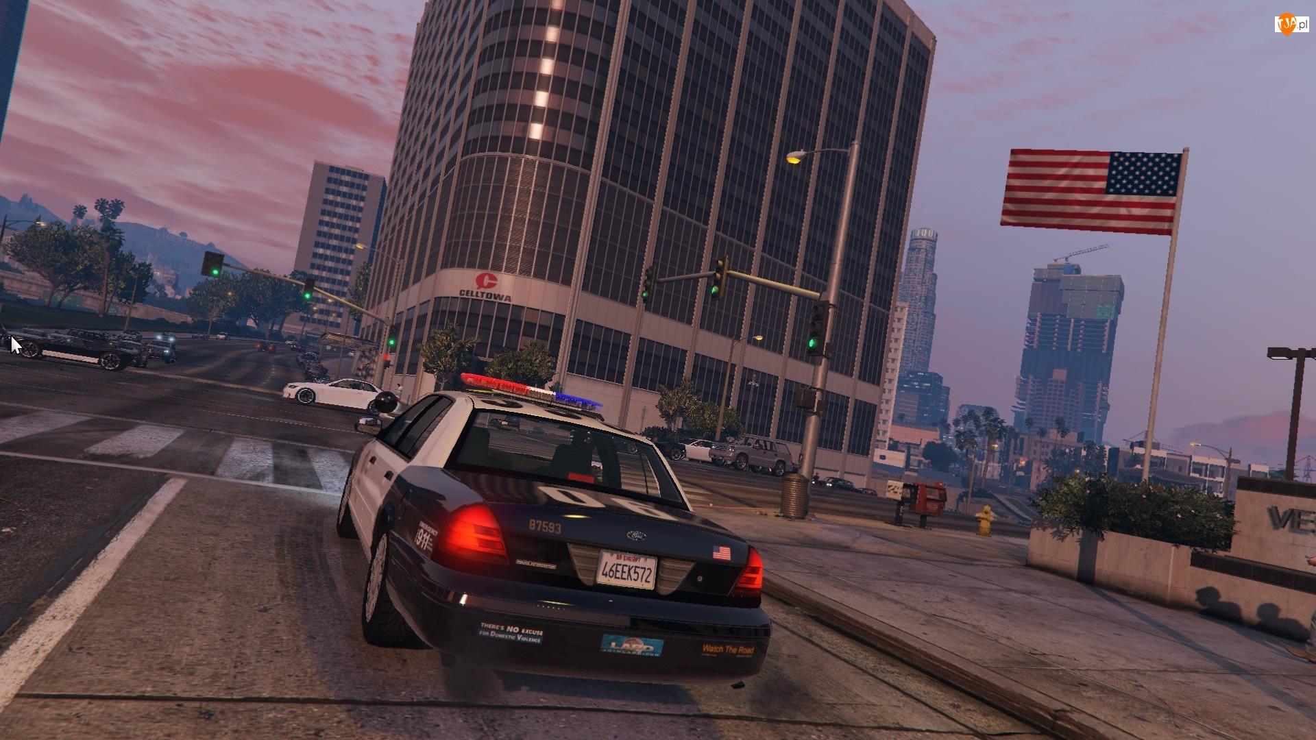 Gra, Skrzyżowanie, GTA5, Samochód policyjny