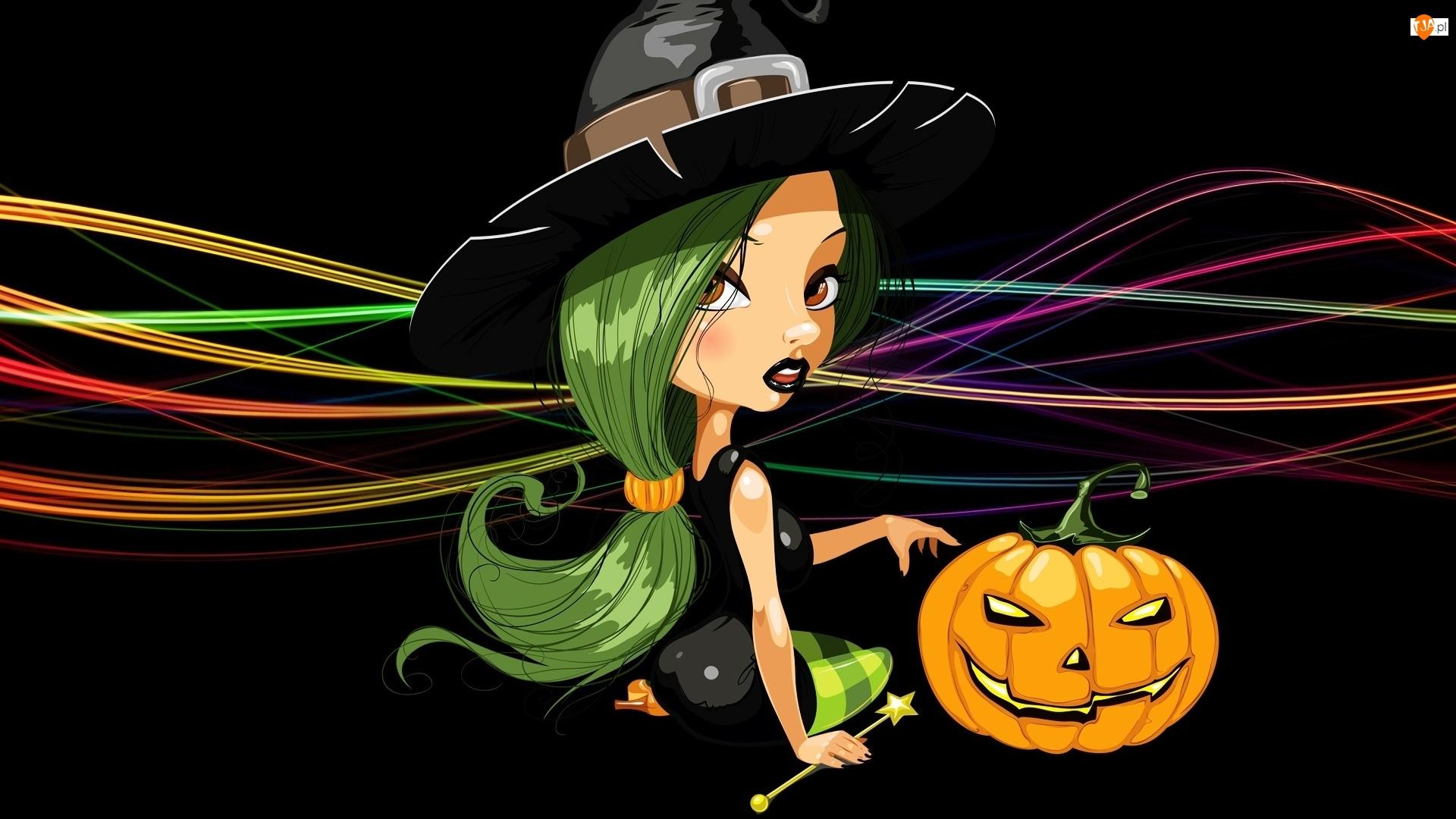 Czarne tło, Grafika 2D, Dynia, Czarownica, Halloween