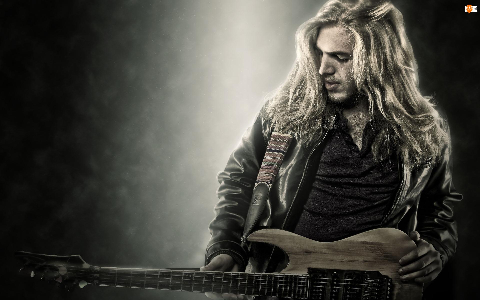 Długie, Muzyk, Włosy, Gitara
