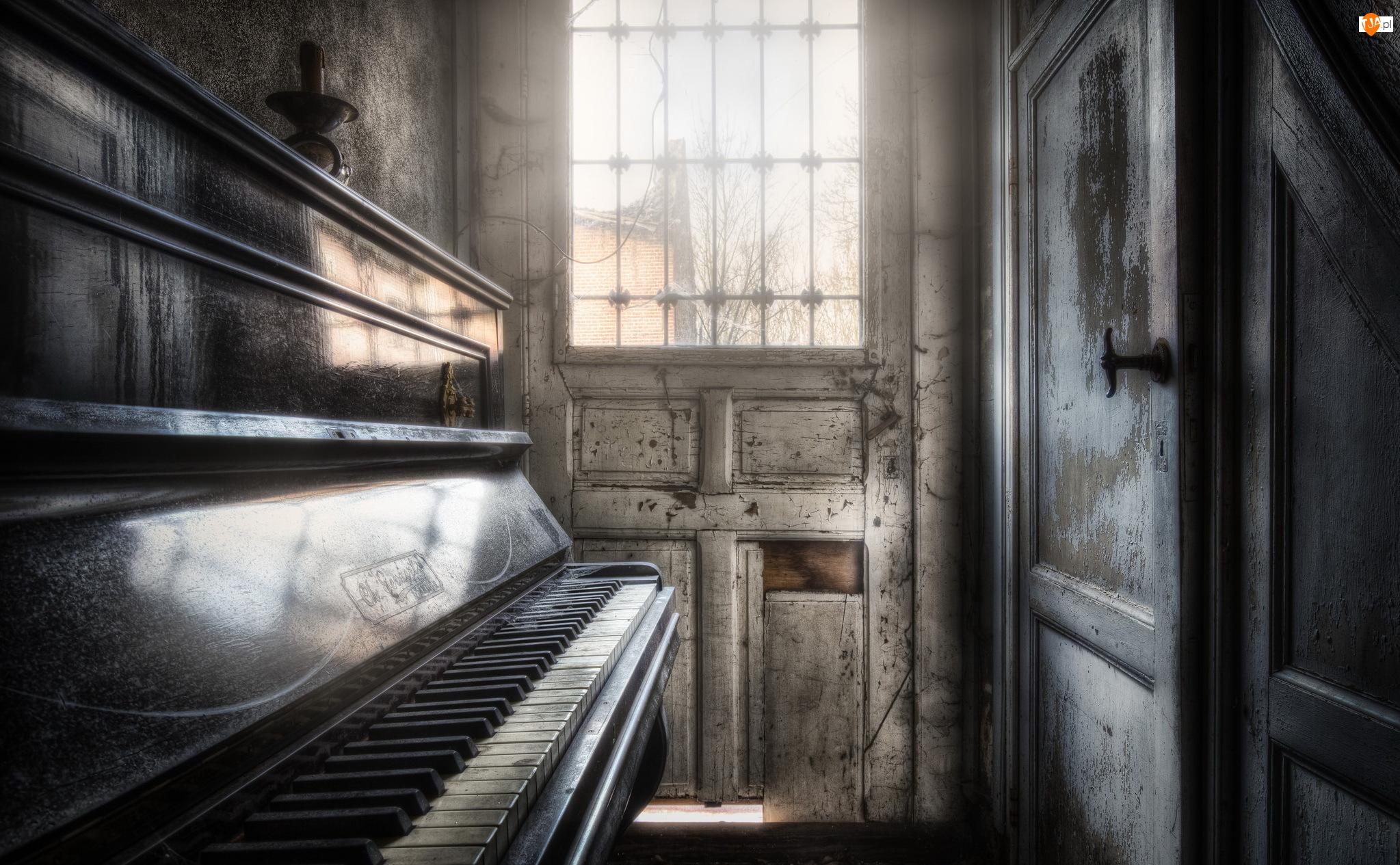 Światło, Zaniedbane, Drzwi, Wnętrze, Pianino