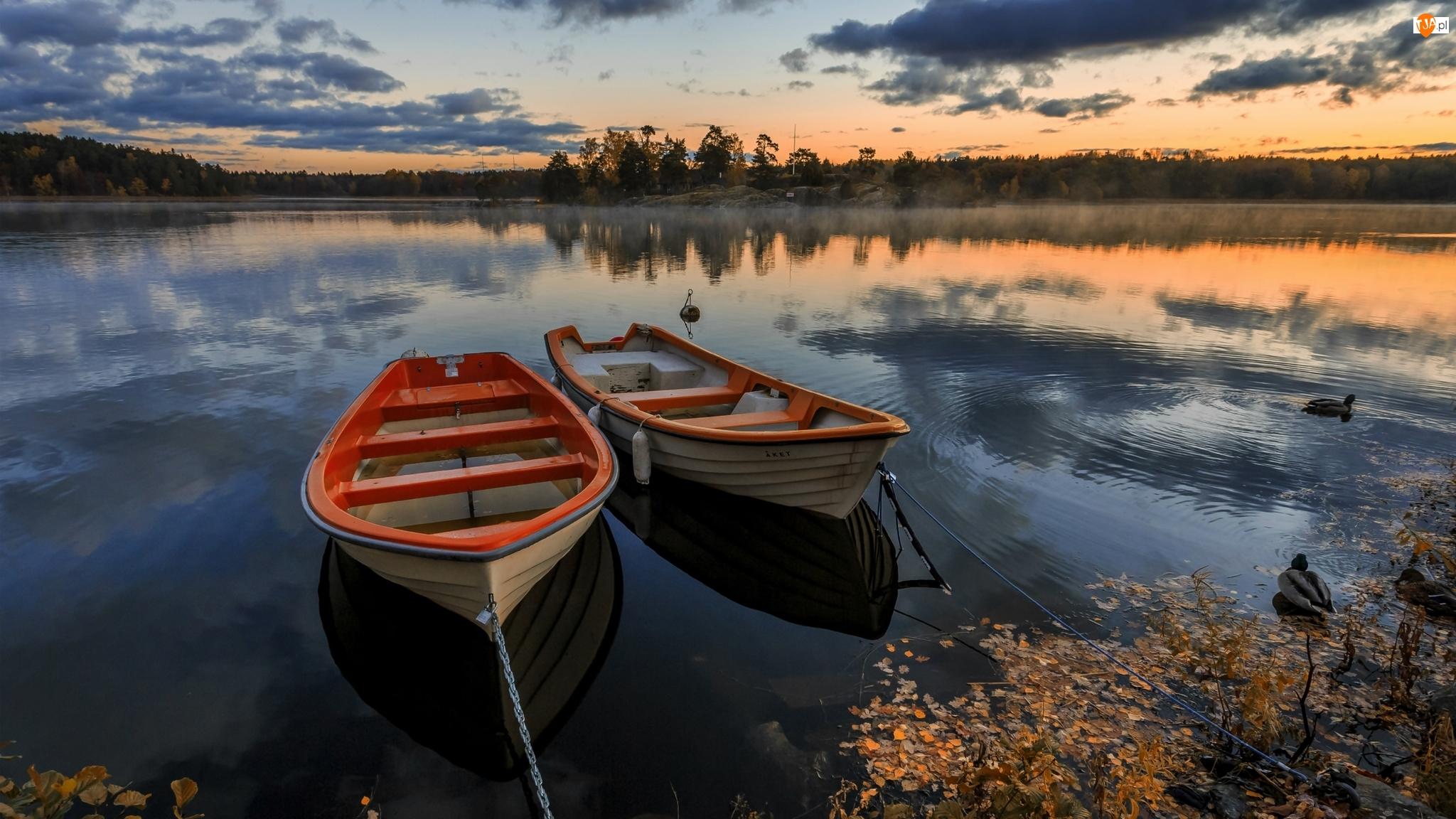 Zachód słońca, Jezioro, Kaczki, Łódki, Lasy