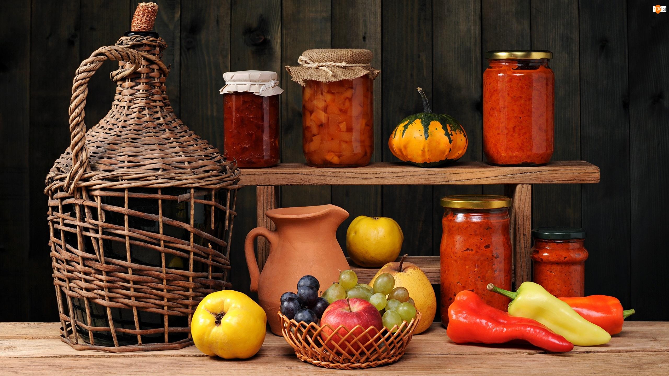 Butla, Papryczki, Wino, Winogrona, Warzywa, Owoce, Półka, Jabłka, Przetwory