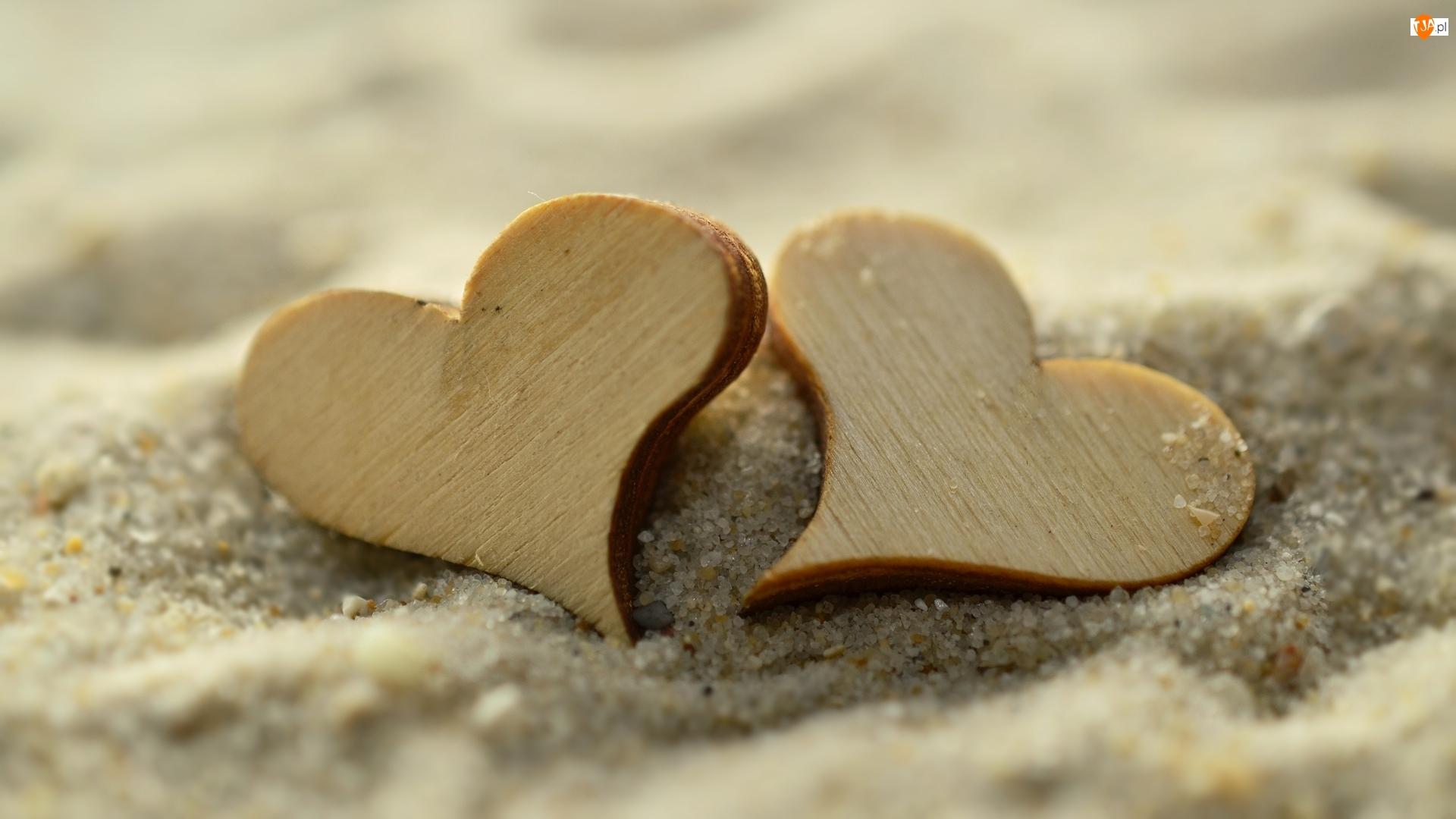 Miłość, Dwa, Serca, Drewniane, Piasek