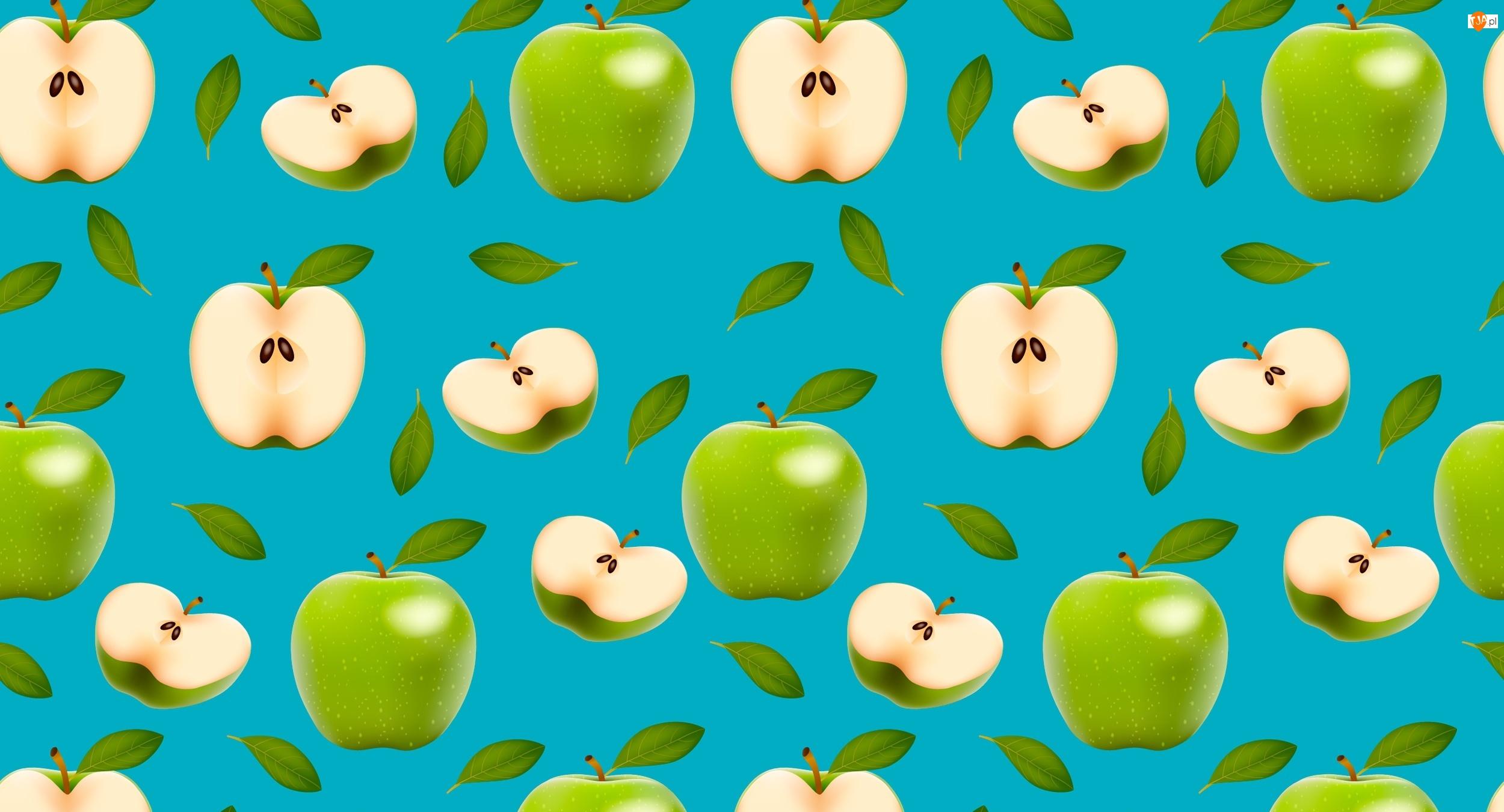 Tekstura, Połówki, Zielone, Jabłka