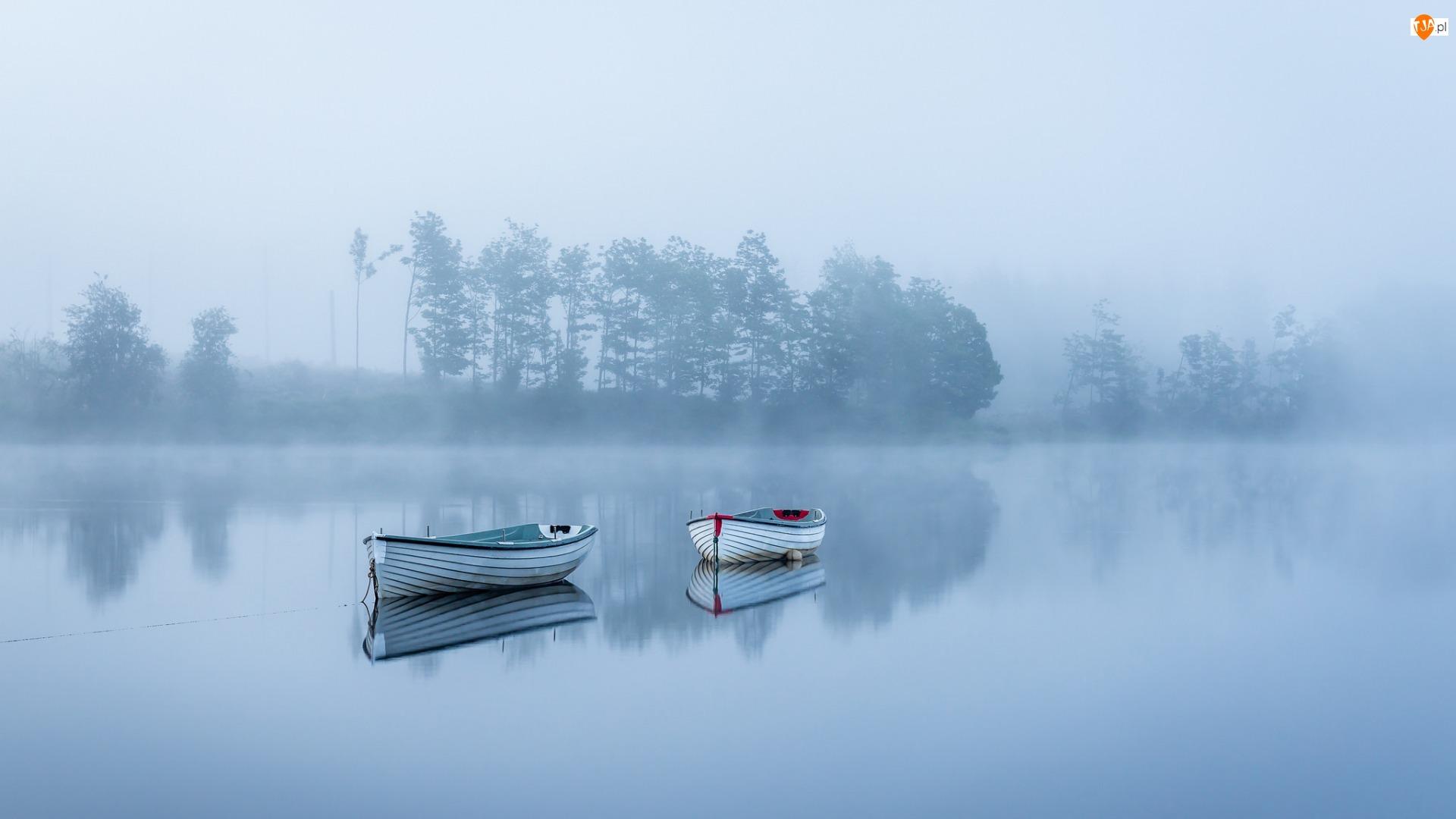 Mgła, Łódki, Jezioro