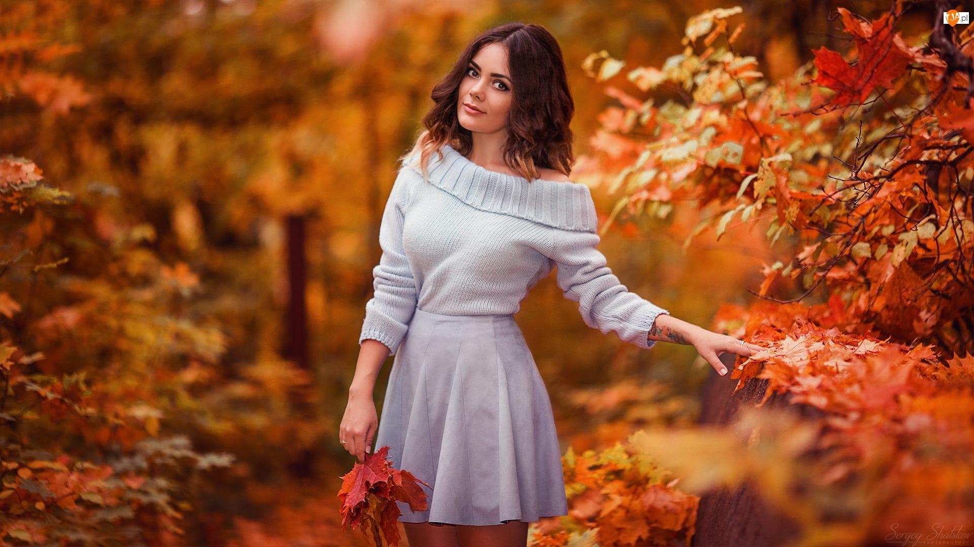 Kobieta, Jesień, Szatynka, Liście