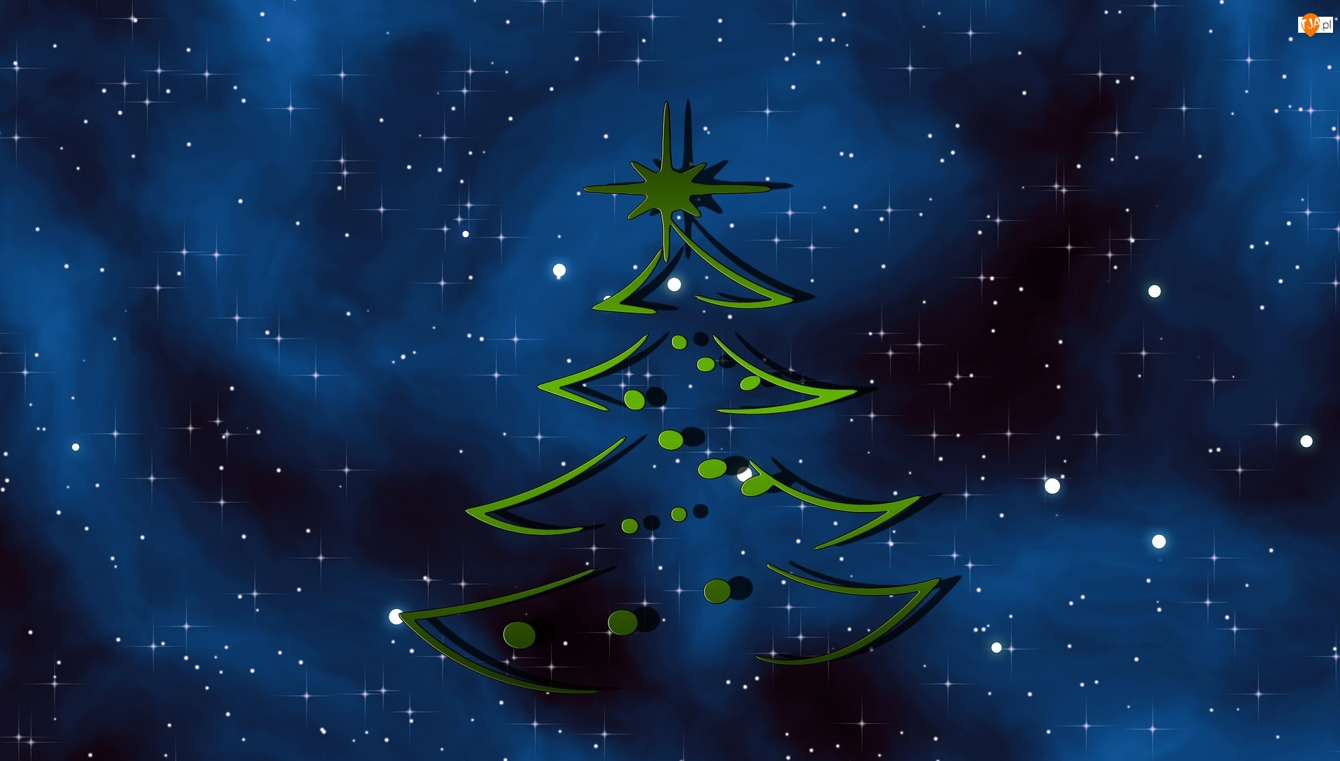 Grafika 2D, Niebo, Choinka, Gwiazdy