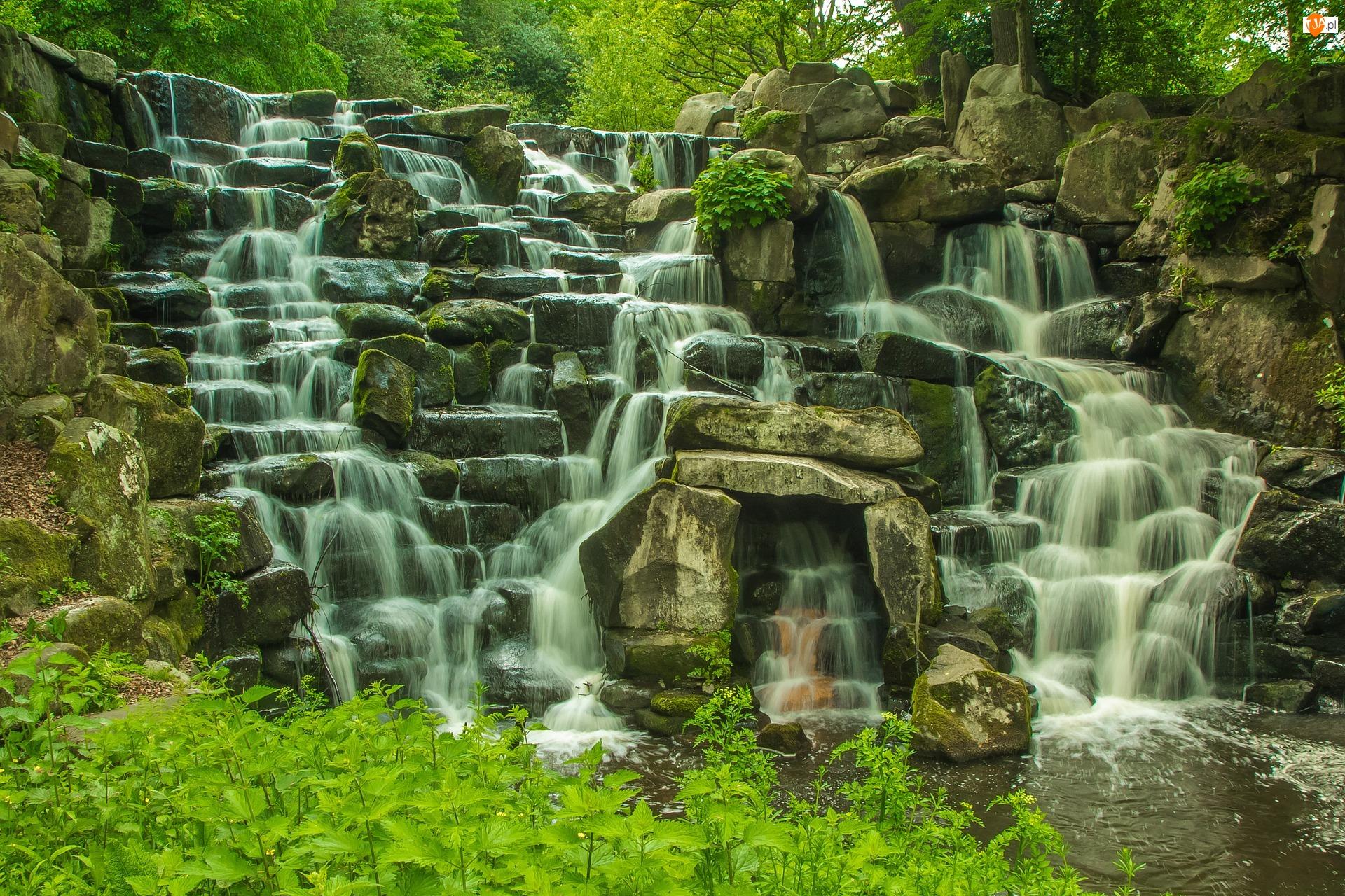 Roślinność, Windsor Great Park, Kamienie, Hrabstwo Surrey, Park Królewski, Anglia, Skały, Jezioro Virginia Water, Wodospad