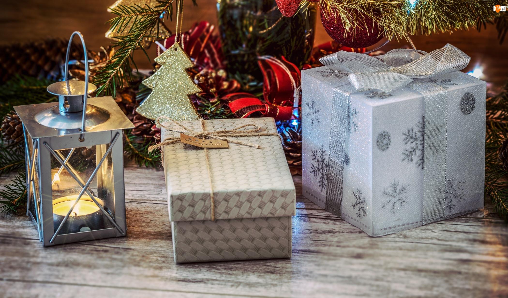 Boże Narodzenie, Kompozycja, Prezenty, Lampion, Święta