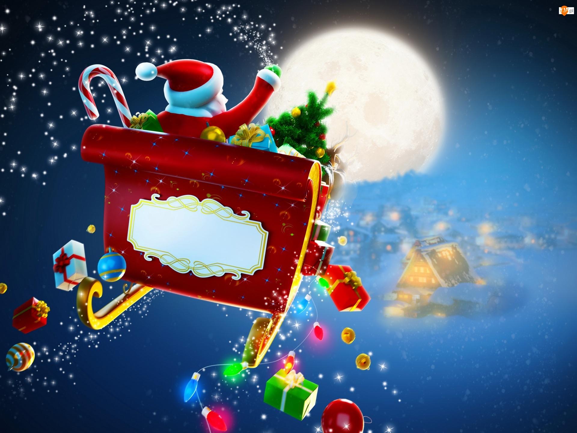 Światełka, Boże Narodzenie, Mikołaj, Sanie, Prezenty