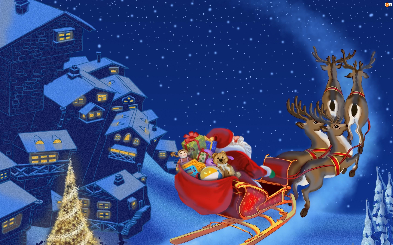 Noc, Mikołaj, Boże Narodzenie, Sanie, Miasto, Renifery