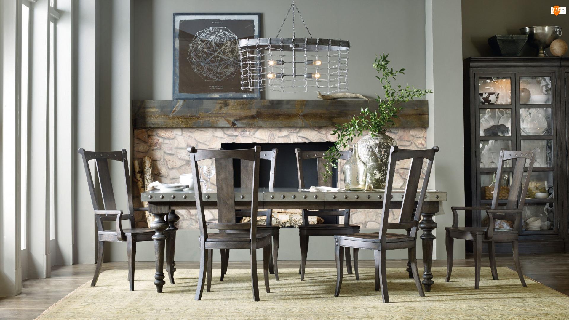 Jadalnia, Kominek, Stół, Krzesła