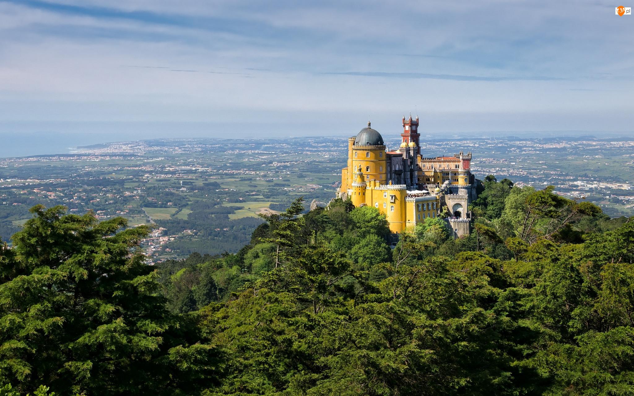 Wzgórze, Portugalia, Miejscowość Sintra, Region Lizbona, Pałac Pena