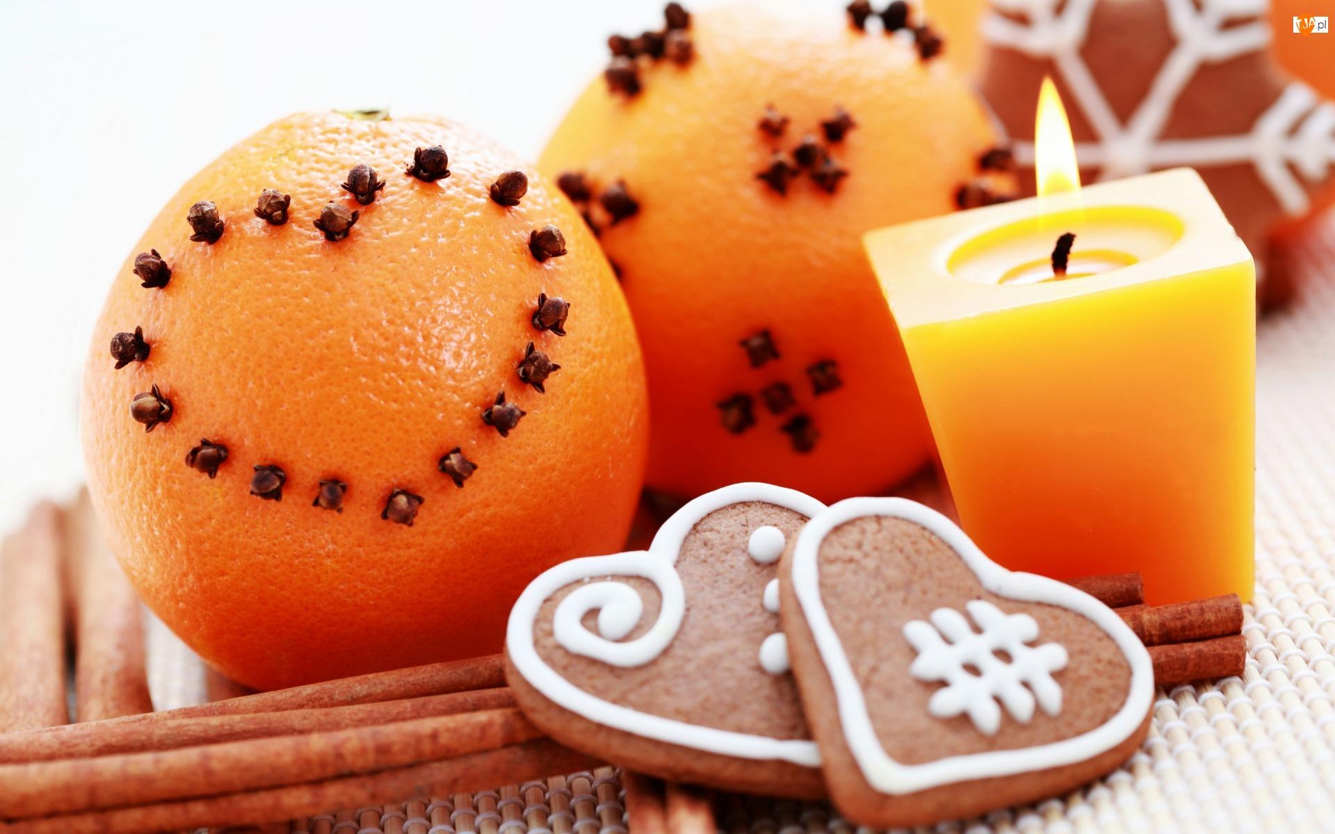 Pierniki, Serduszka, Boże Narodzenie, Goździki, Kompozycja, Świeca, Pomarańcze, Cynamon