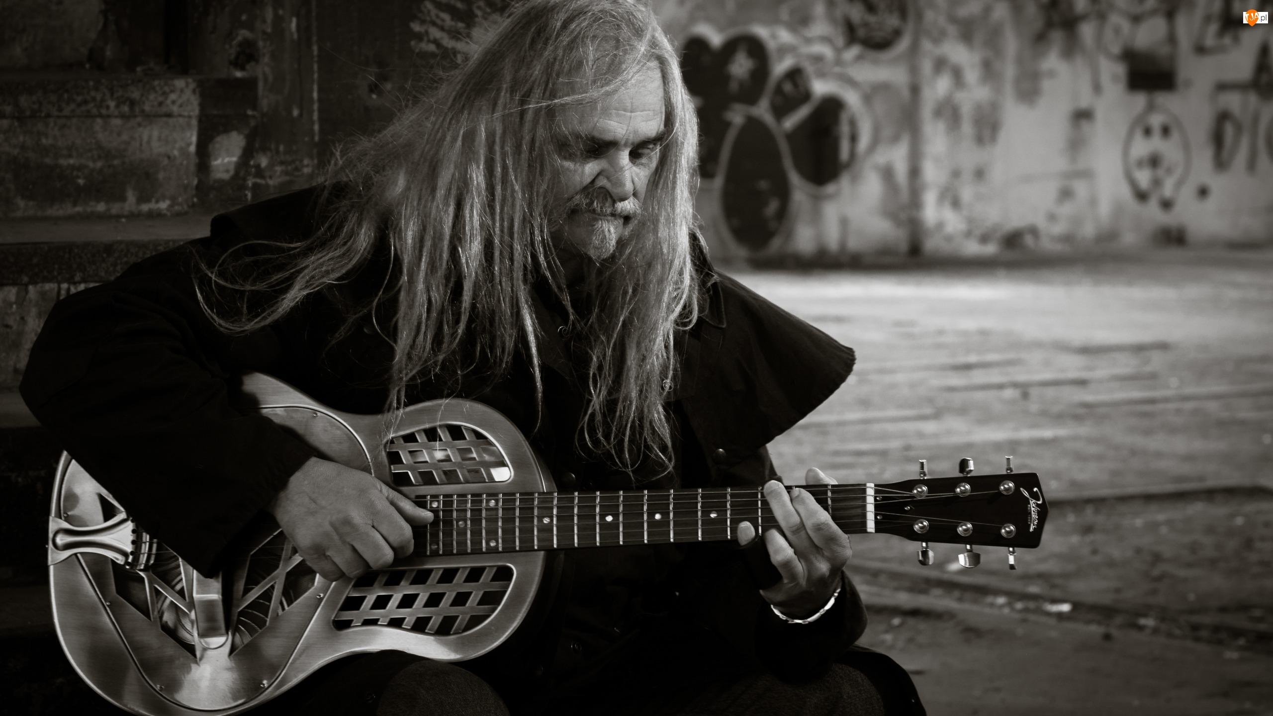 Czarno-białe, Mężczyzna, Gitara