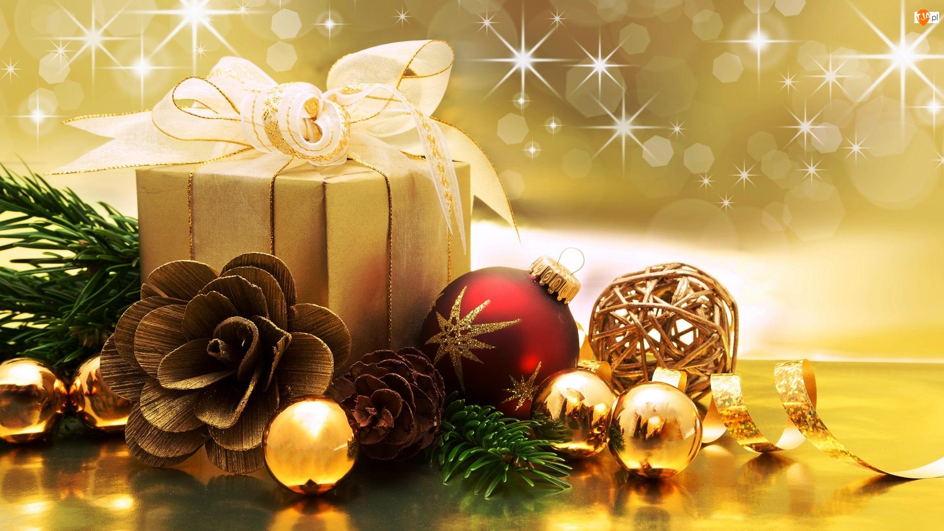Szyszki, Prezent, Świąteczna, Kompozycja, Wstążka, Boże Narodzenie, Bombki