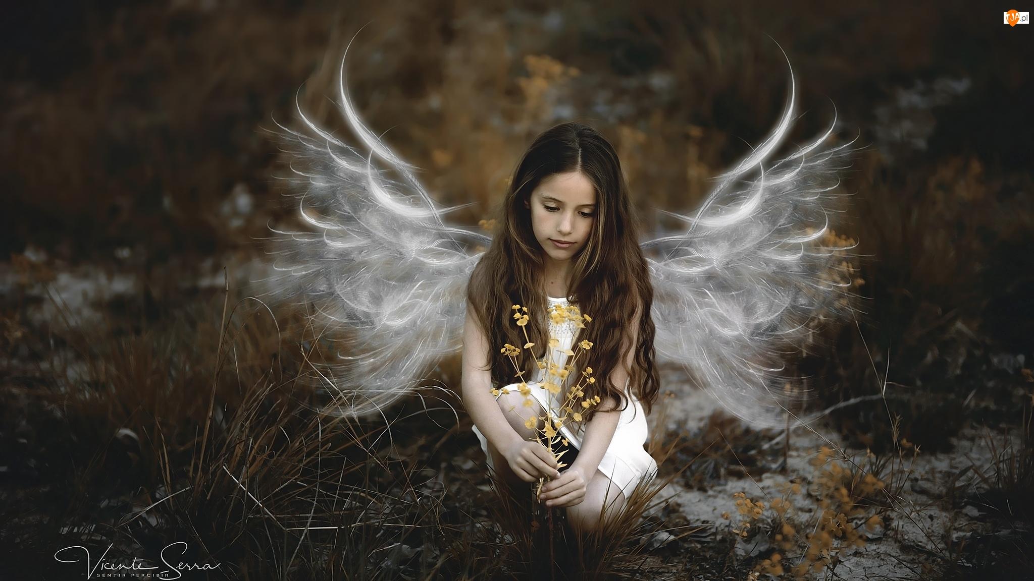 Dziewczynka, Rośliny, Skrzydła, Anioł