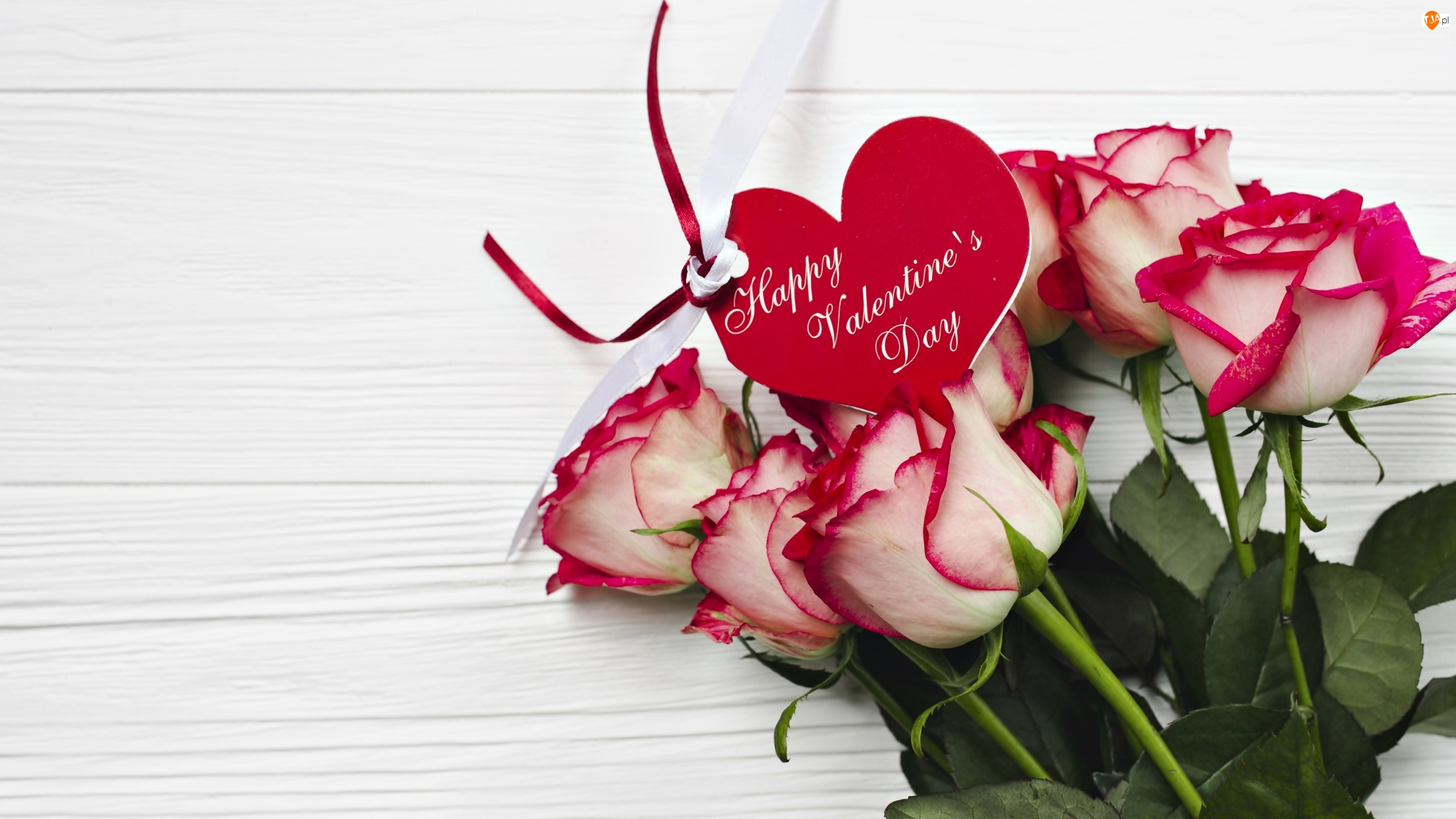 Deski, Wstążeczka, Bukiet, Róże, Walentynki, Serce, Listki
