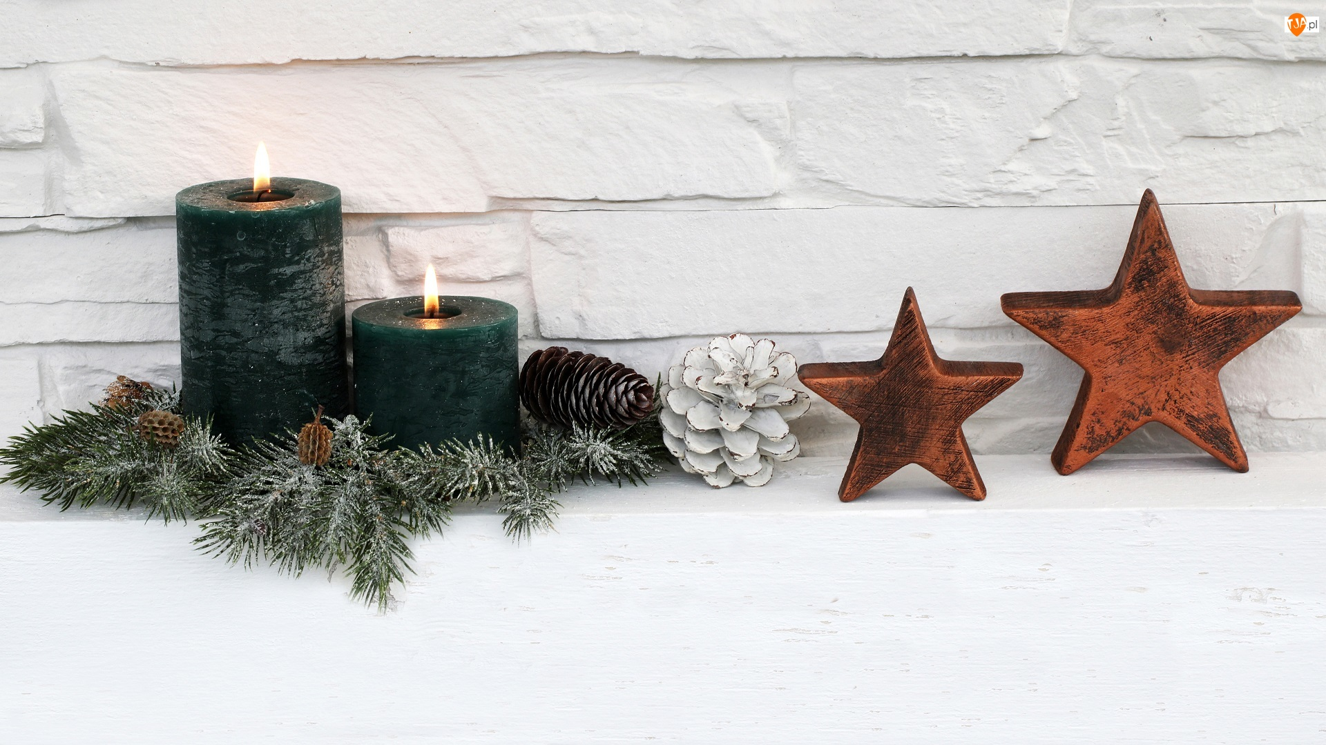 Oszronione, Świece, Boże Narodzenie, Gwiazdki, Świąteczne, Szyszki, Dekoracja, Świerka, Stroik, Gałązki