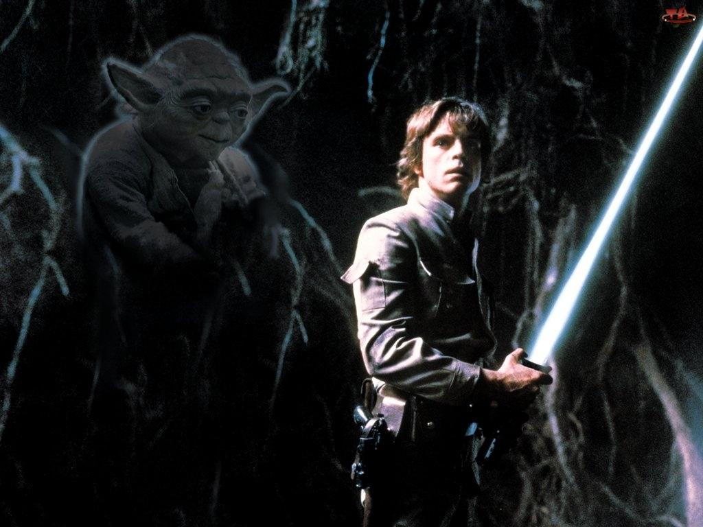 noc, Star Wars, mężczyzna, Yoda, laser