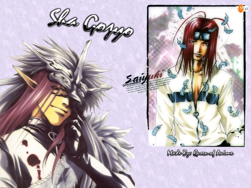 Saiyuki, postać, okulary, liście