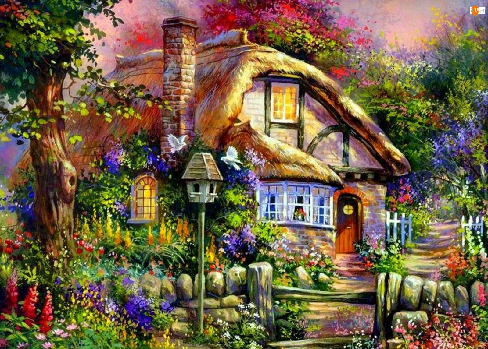 Rysunek, Domek, Ogród