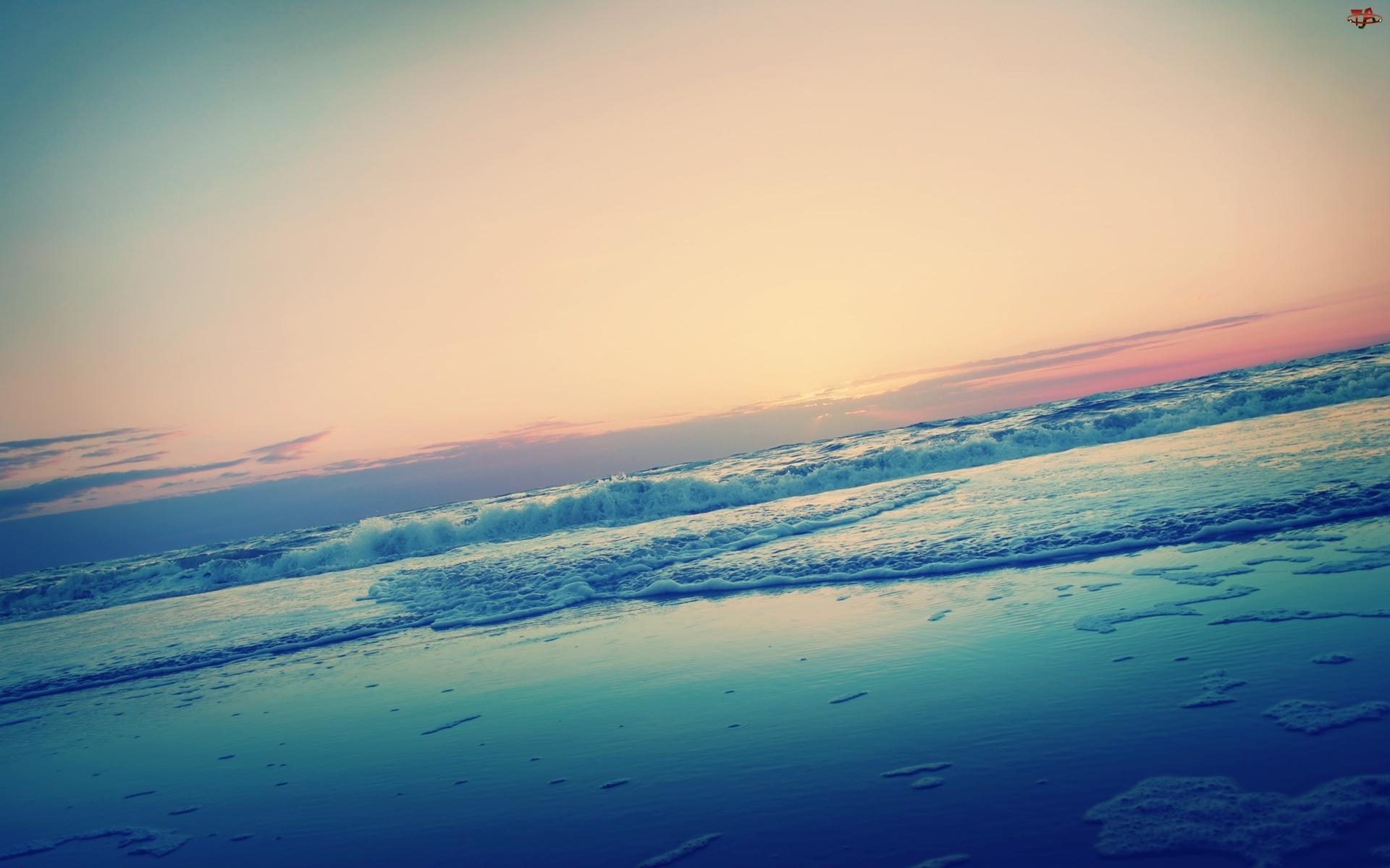 Morze, Horyzont, Plaża, Brzeg