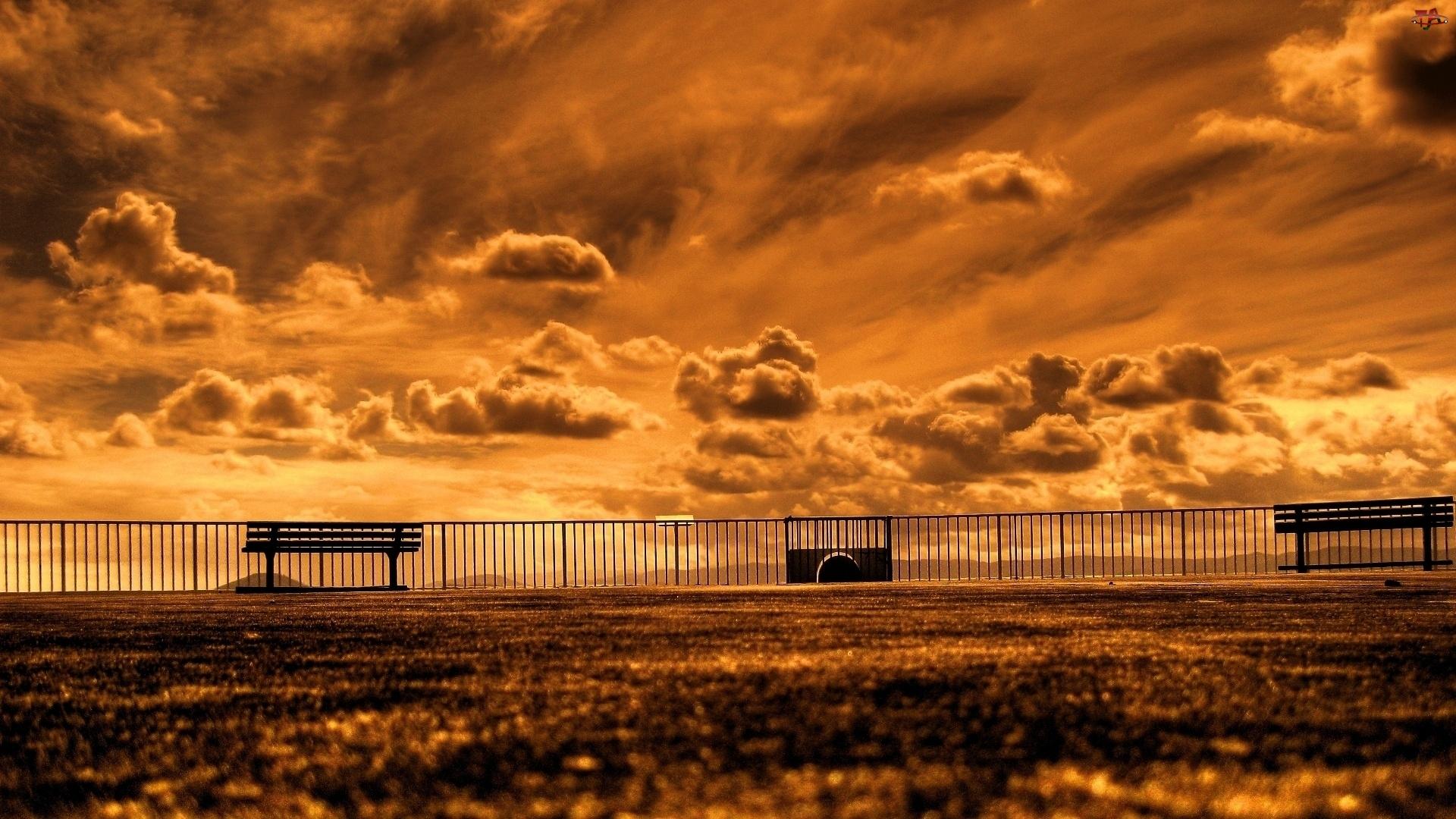 Chmury, Ławki, Zachód, Słońca