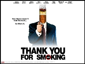 papieros, zapalniczka, Thank You For Smoking, Aaron Eckhart, plakat, garnitur
