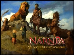 centaur, The Chronicles Of Narnia, dzieci, lew, napis
