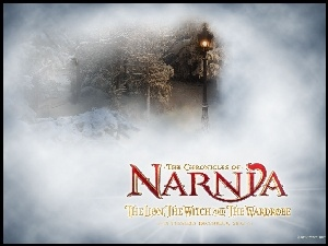 napis, The Chronicles Of Narnia, las, zima, latarnia