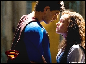 zbliżenie, Superman Returns, Kate Bosworth, Brandon Routh, logo