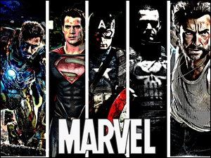 Wolverine, Bohaterzy, X Men, Kapitan Ameryka, Punisher, Heroes, Iron Man, Marvel, Superman