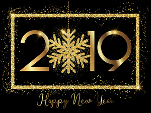 Nowy Rok 2019 z napisem Happy New Year